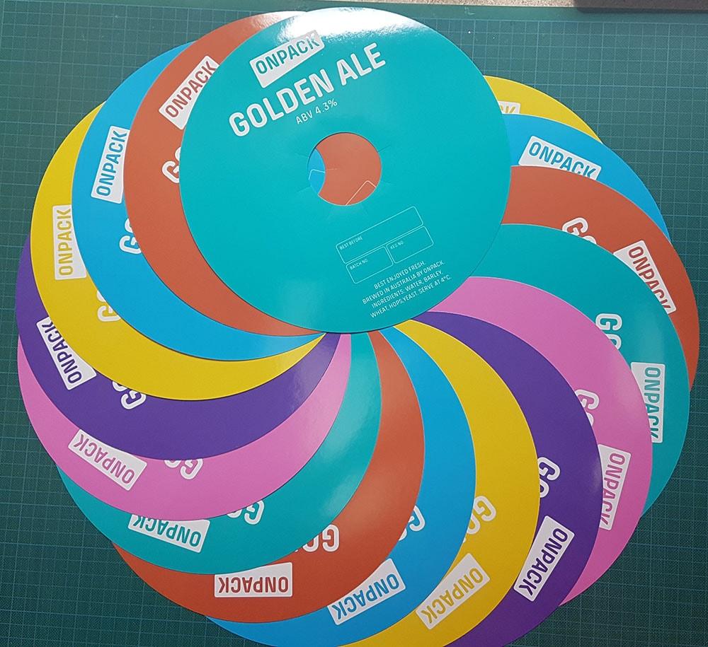 colorful keg labels